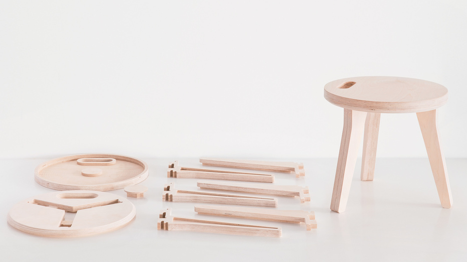 Picture of the open source Edie Stool by Joni and David Steiner for Opendesk