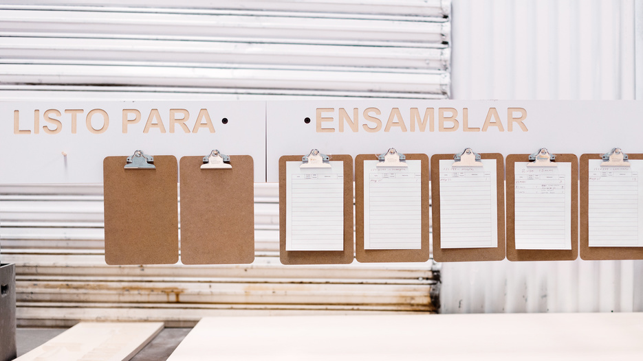 Organisation and planning board at Ensambleria