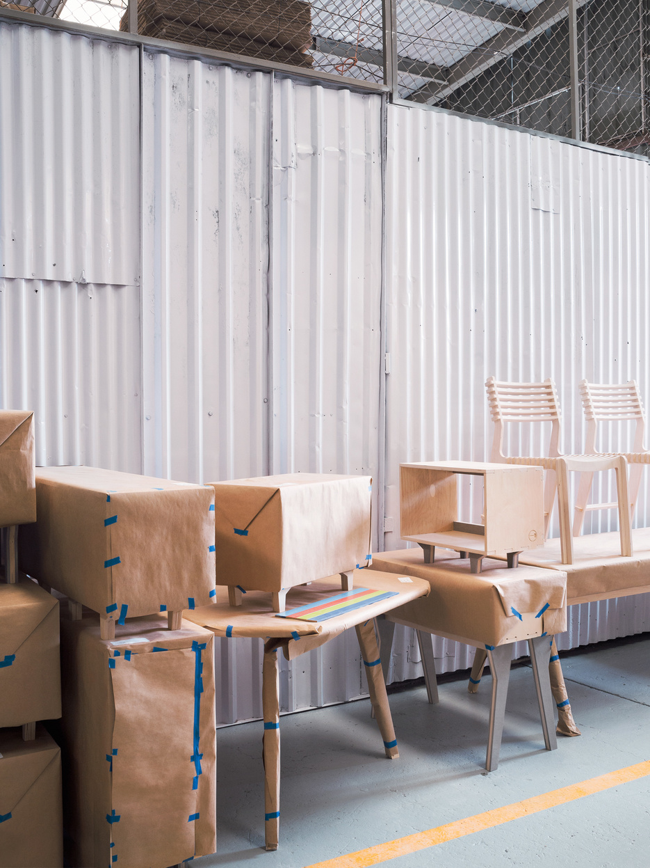 Cabinets, Cafe Table and Valovi Chairs being packed at Ensambleria