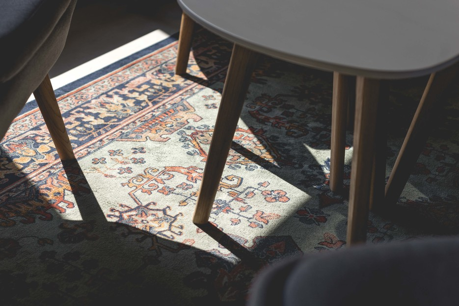 Detail of coffee table and rug