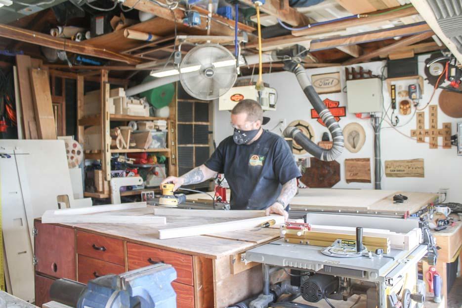Kyle making a Studio Desk in the workshop