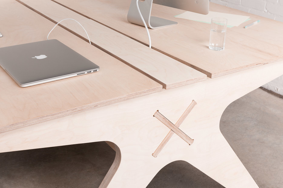 Lean Desk 'X' beam detail