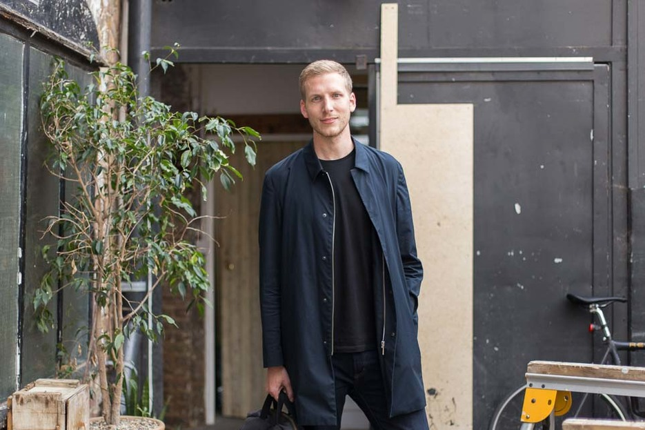 David Steiner outside his studio in Bethnal Green, London