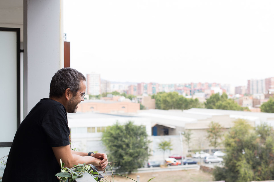 Jose Pacheco on his balcony in Barcelona