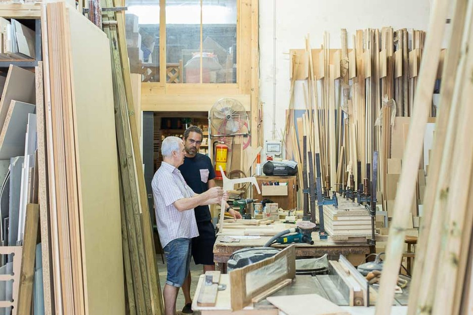 Sergi Beltran Bel and Jose Pacheco inside the Fustot Bel SL workshop