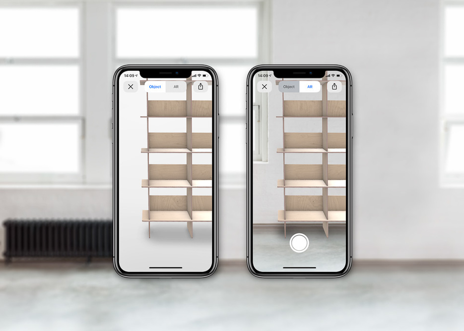 Opendesk Augmented Reality Linnea Bookshelf on iPhone X