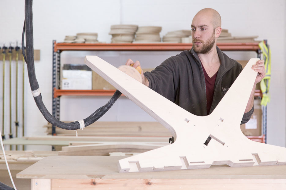 Image of Wilder team member manufacturing Lean Desk